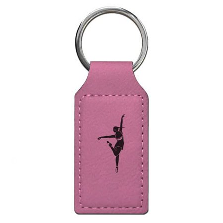 Keychain - Dancing Girl - Personalized Engraving Included (Pink Rectangle) - Girl Keychains