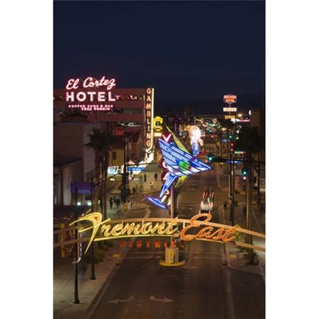 Neon casino signs lit up at dusk El Cortez Fremont Street The Strip Las Vegas Nevada USA Poster