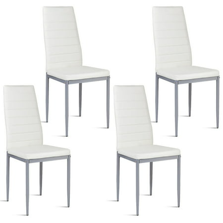 Costway Set of 4 PU Leather Dining Side Chairs Elegant Design Home Furniture White ()