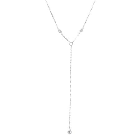 18K White Gold Sterling Silver Cubic Zirconia Circle Bezel Stations with Dangling Bezel -