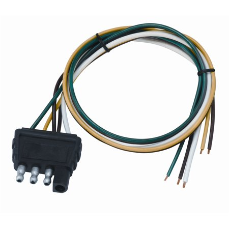 Connector Coil Wiring Harness (Wesbar 707286 4-Way Flat Wiring Connector; Trailer End; 18 in. Wishbone Harness; 18 in. Ground; )