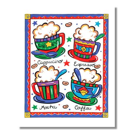 Coffee Espresso Cappuccino and Mocha Kitchen Diner Wall Picture 8x10 Art Print