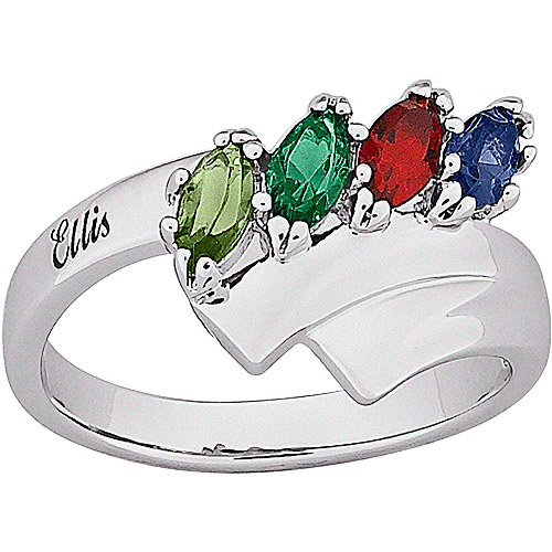 Personalized Mother's Name Marquise Birthstone Ring in Sterling Silver