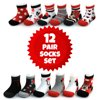 Disney Baby Girls Minnie Mouse Assorted Design 12 Pair Socks Set, Age 0-24 Months