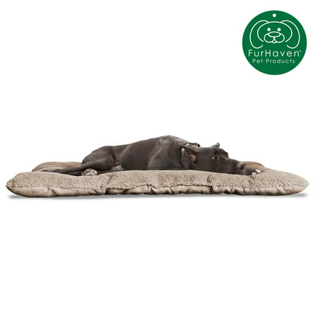 FurHaven Pet Kennel Pad | Reversible Terry and Suede Pet Tufted Pillow Dog Bed for Crates & Kennels, Clay, Jumbo 24 Crate Pet Bed
