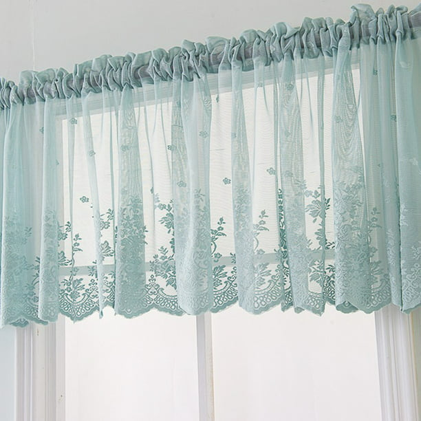 Thinktankhome Floral Lace Cafe Curtain Embroidery Semi Sheer Lace Window Valance Kitchen Curtains Elegant Beautiful Dining Room Window Decor Walmart Com Walmart Com