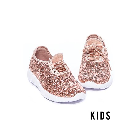 Kids Girl Fashion Casual Glitter Sparkling Sneakers Bomb Shoes Remi-18K-13K-Rose Gold - Glitter Shoes Girls