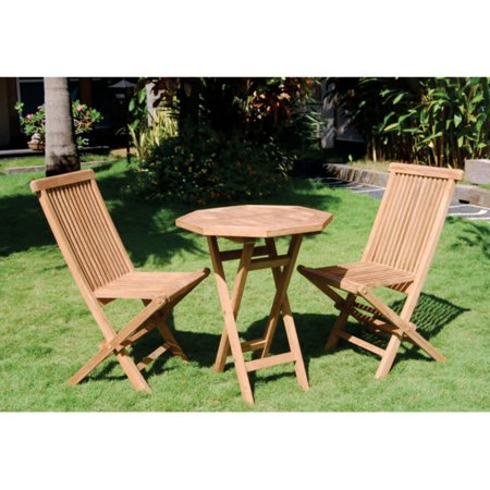 Bamboo54 Teak 3 Piece Folding Outdoor Bistro - Teak Tropical Folding