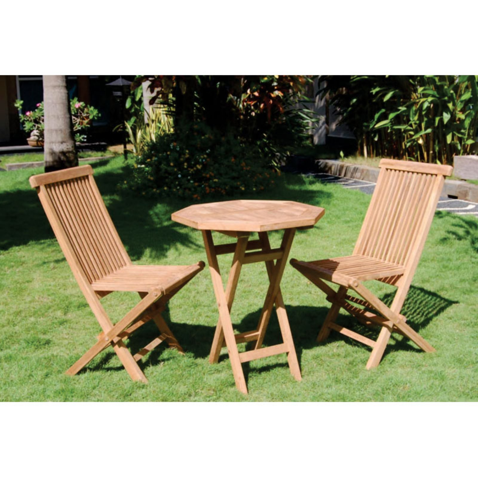 Bamboo54 Teak 3 Piece Folding Outdoor Bistro Set