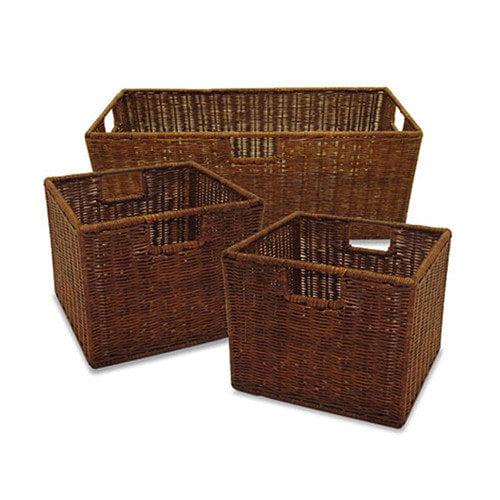 Winsome 3 Piece Walnut Storage Basket Set