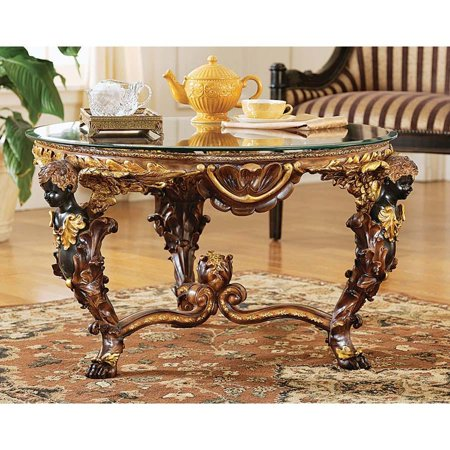 Classic Gilded Gold French Glass Topped Luxurious Cocktail Coffee Table with ... ()