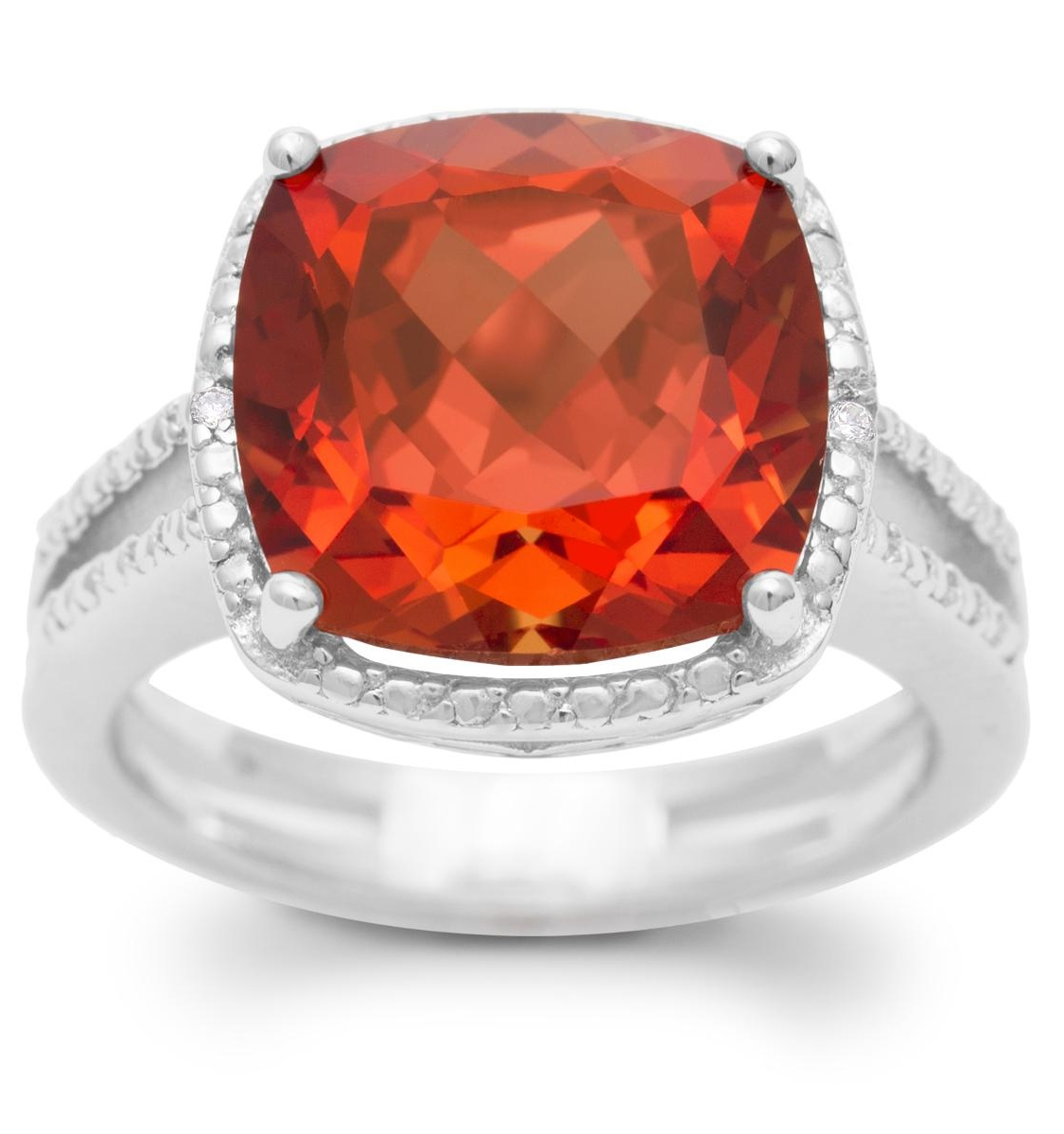 5 1/3 Carat Split Shank Cushion Cut Created Padparadscha Sapphire and Diamond Ring In Sterling Silver - 5.5