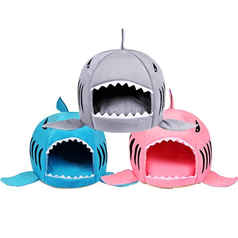 Gray / Pink / Blue Unique Shark Mouth Pet House for Medium & Large Dogs / Cats, Removable & Washable Dog Kennel Beds for Medium & Large Dogs