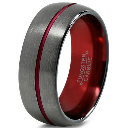 Tungsten Wedding Band Ring 8mm for Men Women Red Black Gunmetal Domed Brushed Polished Lifetime Guarantee Black Hills Wedding Bands