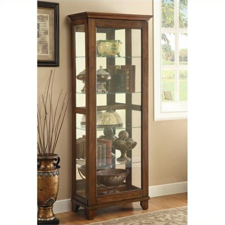 Bowery Hill 5 Shelf Curio Cabinet with Can Lighting in Warm Brown