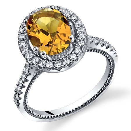 Blue Topaz Milgrain Ring - 1.75 Carats Citrine Halo Milgrain Ring in Sterling Silver