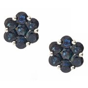 Anika and August  14k White Gold Blue Sapphire Round Earrings