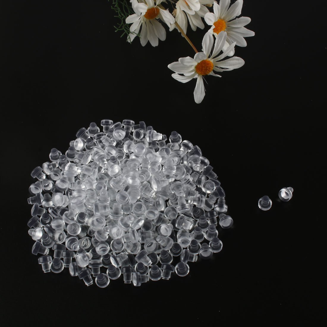 300pcs 6mm Soft Clear Flat Stem Bumpers Glide, Patio Outdoor Furniture Table Top - image 2 de 4