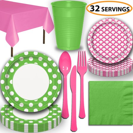 Disposable Tableware, 32 Sets - Lime Green and Hot Pink - Dotted Dinner Plates, Scallop Dessert Plates, Cups, Lunch Napkins, Cutlery, and Tablecloths:  Party Supplies Set