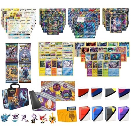 Totem World Christmas Gift Pokemon Cards Super Premium Collection Collector Chest - 2 Secrets Rares, 2 MEGAs, 2 GXs, 2 EXs, 20 Rares, 4 Boosters, Playmat, Sleeves, Totem Deck Box - Natural Gift Pokemon