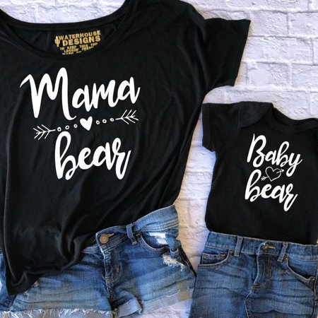 Couple T-Shirt Women Mama Baby Kids Bear Matching Shirts Family Clothes Tee
