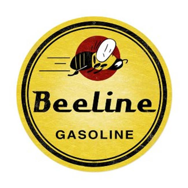 Past Time Signs PTS144 Bee Line Gasoline Automotive Round Metal Sign - image 1 of 1
