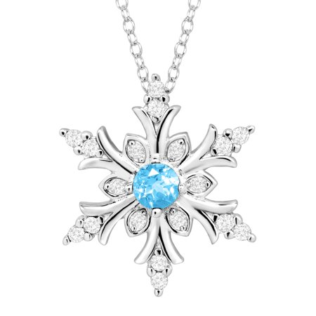 3/8 ct Natural Blue Topaz & Created White Sapphire Snowflake Pendant Necklace in Sterling Silver (Sterling Silver Snowflake)