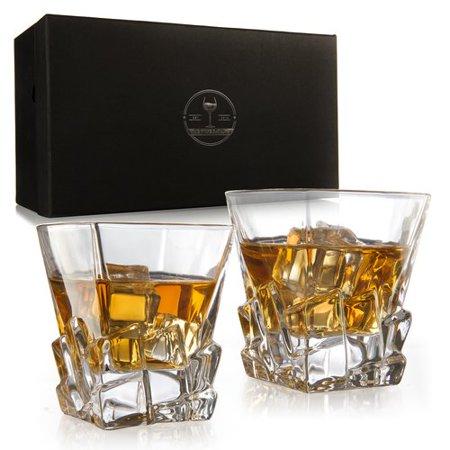 The Wine Savant Iceberg Luxury Elegant 12 oz. Glass Whiskey Glass (Set of 2)