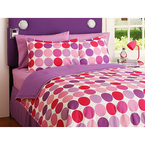 Your Zone Reversible Comforter And Sham Set Purple Dot