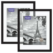 Better Homes & Gardens 11x14 Inch Float Picture Frame, Black, Set of 2