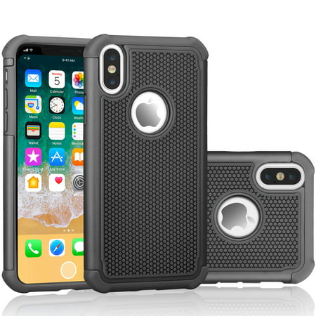 finest selection b6db8 e9676 iPhone X Case, iPhone X Sturdy Case, Tekcoo [Tmajor] Shock Absorbing  [Black] Rubber Silicone & Plastic Scratch Resistant Bumper Grip Rugged Hard  Cases ...