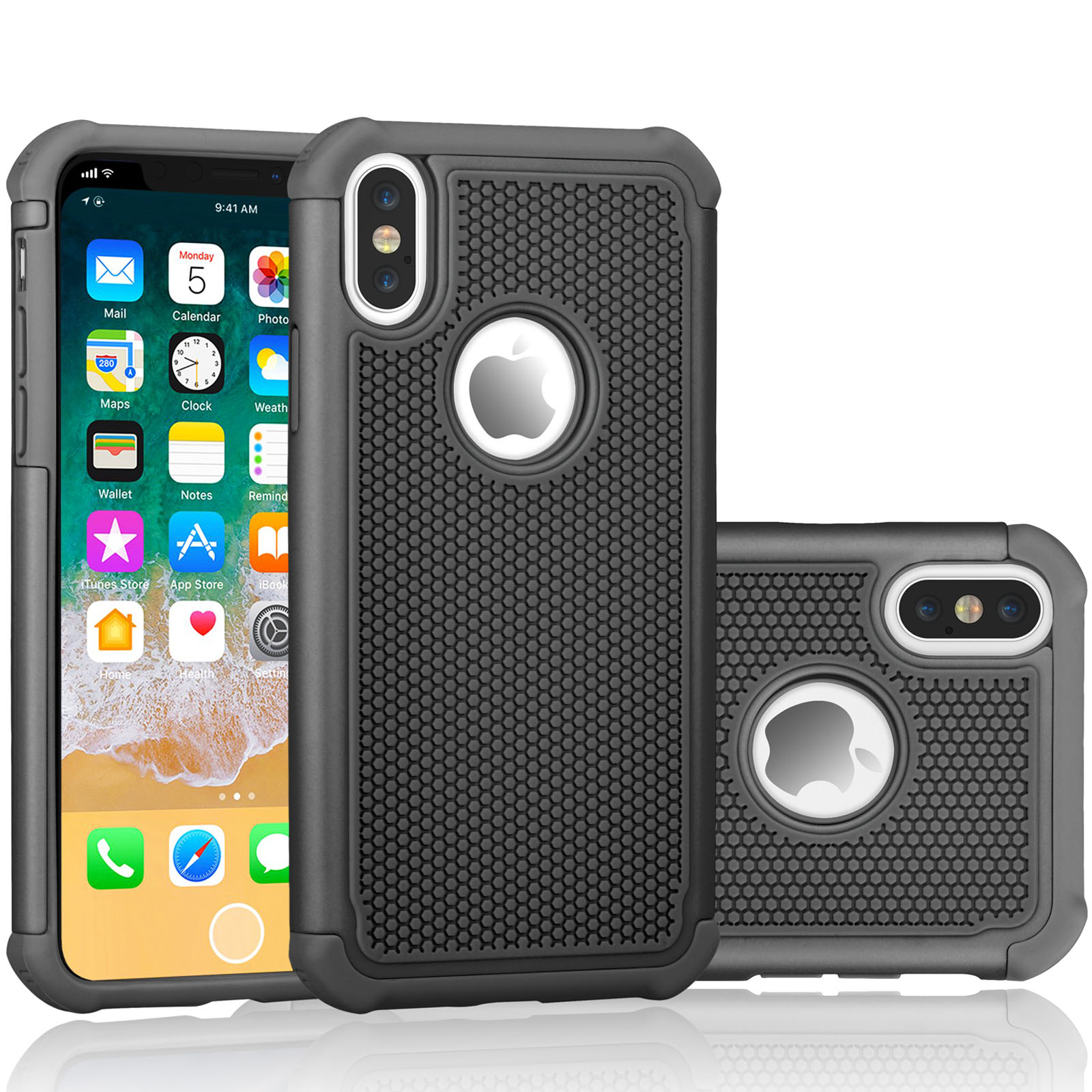 iPhone X Case, iPhone X Cute Case, Tekcoo [Tmajor] Shock Absorbing [Turquoise/Grey] Rubber Silicone & Plastic Scratch Resistant Bumper Grip Rugged Hard Cases Cover For Apple iPhone X (5.8 inch)