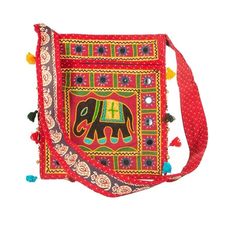 Tribe Azure Hobo Cross Body Elephant Messenger Shoulder Bag Mirror Embroidered Roomy Women Purse Tote Colorful Casual Everyday Hippie Boho Red