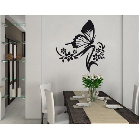 Butterfly Branch Wall Decal - Wall Sticker, Vinyl Wall Art, Home Decor, Wall Mural - 1709 - White, 12in x 13in 12 White Logo Decal