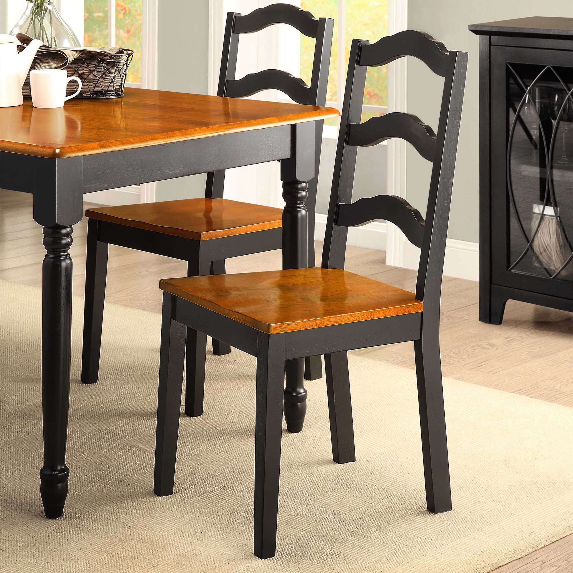Better Homes and Gardens Autumn Lane Ladder Back Dining Chairs, Set of 2, Black and Oak by