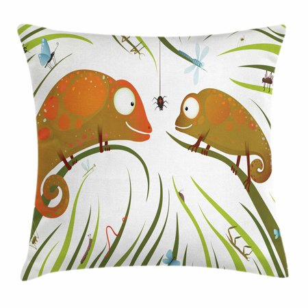 Hungry Animal - Chameleons Throw Pillow Cushion Cover, Hungry Animals Grass Looking at Spider Insect World Illustration Worm Ladybug, Decorative Square Accent Pillow Case, 18 X 18 Inches, Multicolor, by Ambesonne