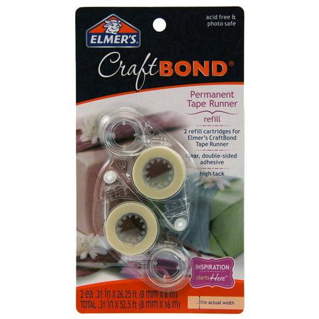 Roller Permanent Adhesive Refill (Elmer's Craft Bond High Track Permanent Tape Runner Refill, 2 Count)