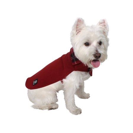 American Kennel Club Premium Reversible Plaid Fleece Lined Cozy Coat for Dogs