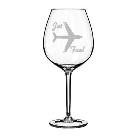 Pilot And Flight Attendant Costume (Wine Glass Goblet Airplane Pilot Flight Attendant Frequent Flyer Travel Jet Fuel (20 oz)
