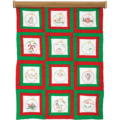 """Themed Stamped White Quilt Blocks, 9"""" x 9"""", 12pk, Ornaments"""