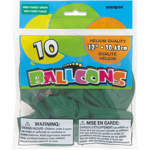 12��� Forest Green Balloons, 10ct