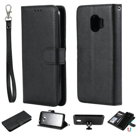 Detachable Front Pocket (Galaxy J2 Pro 2018 Case Wallet, J2 Pro 2018 Case, Allytech Premium Leather Flip Case Cover & Card Slots Pocket, Wrist Design Detachable Slim Case for Samsung Galaxy J2 Pro 2018 (Black) )