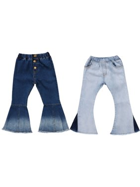 Toddler Little Kid Girls Denim Jeans Bell Bottom Flare Pants Leggings Trousers