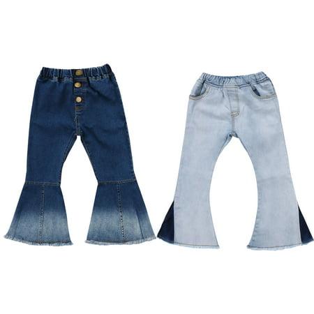 Button Flare Leggings - Toddler Little Kid Girls Denim Jeans Bell Bottom Flare Pants Leggings Trousers