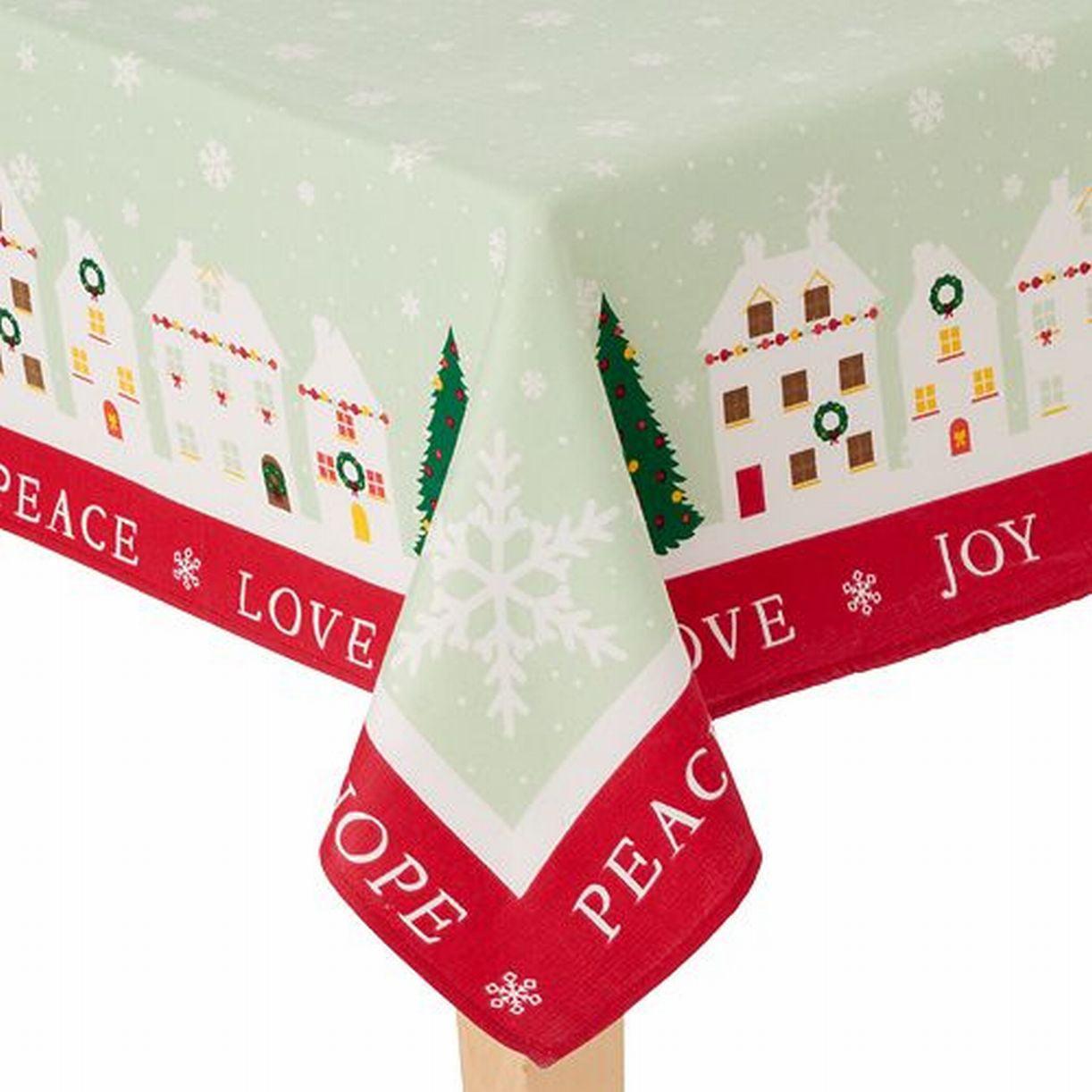 St Nicholas Square Green Christmas Village Tablecloth Table Cloth 60x102 Ob
