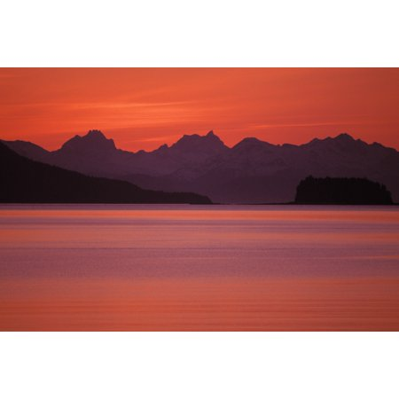 Alaska Favorite Channel Lynn Canal Chilkat Mountains Sunset Over The Water Canvas Art - John Hyde  Design Pics (34 x (Savage Over And Under 410 22 For Sale)
