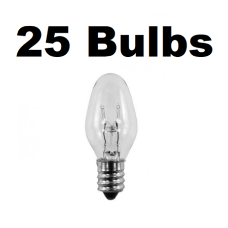 Box of 25 Night Light / Candle Lamp Bulbs -7 watt, C7, Clear, Candelabra (7C7C)](Halloween Night Light Bulbs)