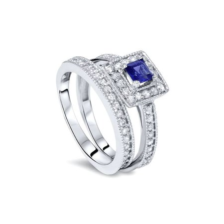 1ct Blue Sapphire Princess Cut Halo Diamond Engagement Ring Set 14K White Gold