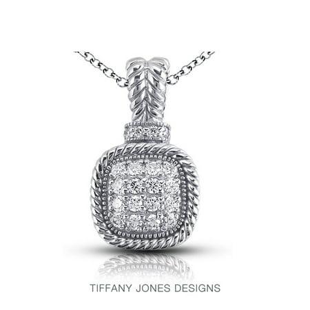 18k White Gold Pave Diamond Pendant (1.09ct tw G-VS2 VG Round Natural Diamonds 18k Gold Pave Rope Edging Pendant)