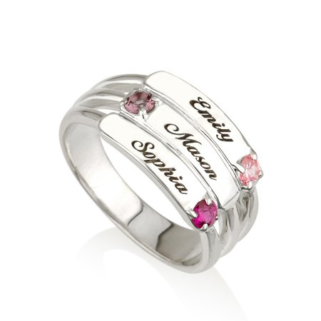 Mothers Ring Engraved Birthstone Ring 3 Stones Ring -925 Sterling Silver - Personalized & Custom Made